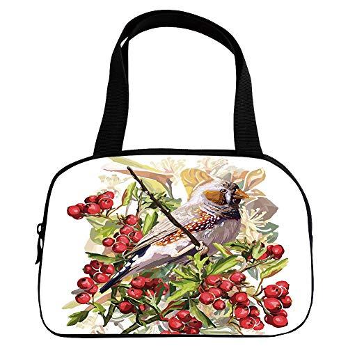 Xoxo Hobo Handbag - Personalized Customization Small Handbag Pink,Rowan,Colorful Bird Flower and Rowan Shrubs on White Backdrop Artistic Display Botanical Decorative,Multicolor,for Girls,Personalized Design.6.3