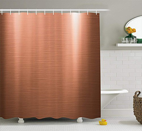 KRISTI MCCARTNEY Copper Decor Shower Curtain, Brushed Copper Plate Facade Image Tough Industrial Element Modern, Fabric Bathroom Decor Set with Hooks, 84 Inches Extra Long, Bronze Light Bronze