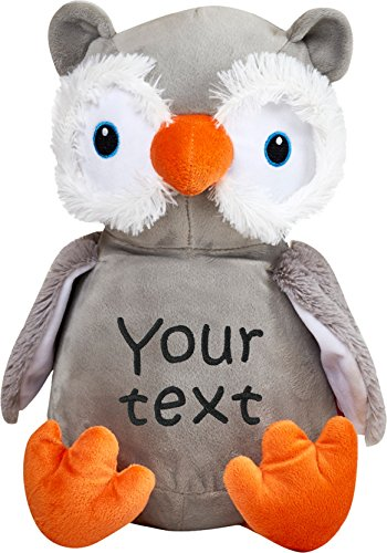 Owl 2 Embroidery (Personalized Stuffed Grey and Orange Owl with Two Lines of Embroidery)