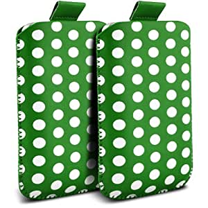 Samsung Galaxy S3 i9300 Protección Premium Polka PU ficha de extracción Slip In Pouch Pocket Cordón piel cubierta de la caja de liberación rápida (Twin Pack) Green & White por Spyrox