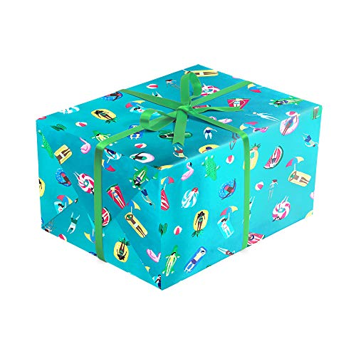 Pool Party Folded Wrapping Paper, 2 feet x 10 feet Premium Folded Summer Gift wrap with Pool floaties, Wrap & Revel®