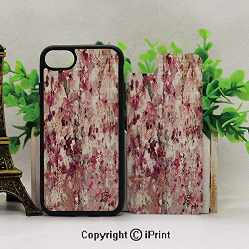 iPhone 8 Plus/iPhone 7 Plus Case,Avoid Scratches and dust,Grungy Effect Cherry Blossoms on Ribbed Bamboo Retro Background Floral Art WorkPink Beige ()