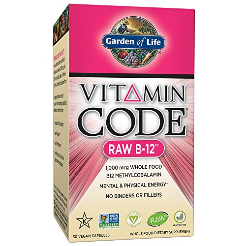 Garden of Life Vitamin B12 Vitamin Code Raw B12 Whole Food Supplement, 1000 mcg, Vegan, 30 Capsules