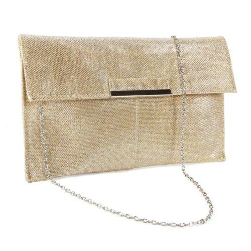The Pecan Man Beige Metal Bar Flap Glitter Shimmer Lurex Women Clutch Soft Shoulder Bag Envelope
