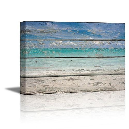 Tropical Beach on Vintage Wood Background Rustic ation
