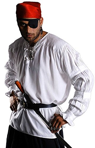 Medieval Poet's Pirate Redbeard Shirt Costume [White] (Small/Medium)