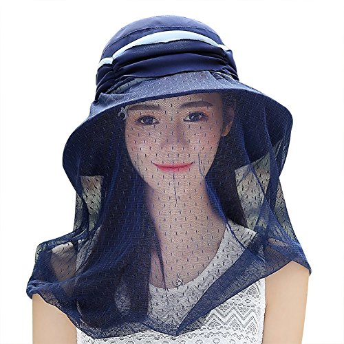 (ITODA Women Foldable 360 Head Net Removable Mesh Sun Hat, UPF 50+ Wide Brim Adjustable Breathable Beekeeper Mask, Anti-UV Protective Portable Summer Veil Cap)