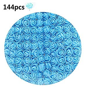 snailmon 144pcs DIY Foam Roses with Silk, Mini Artificial Rose Flowers for Bouquet Wedding Party Home Decoration Craft, 2.5cm Fake Foam Roses 36