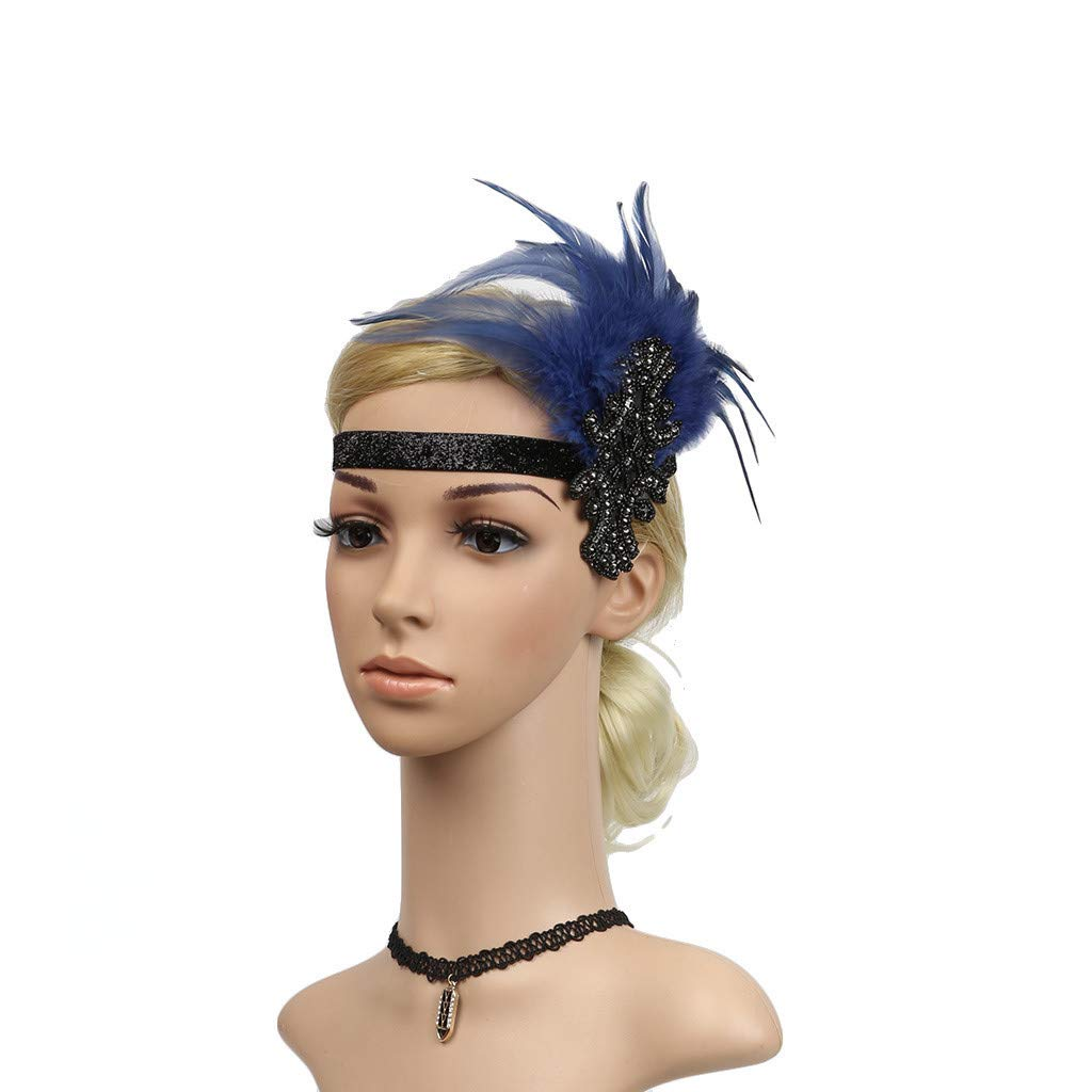 Midress Headpiece Fashion Feather Flapper Headband Great Gatsby Headdress Vintage Prom (Navy)