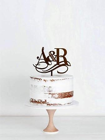 Initials Cake Topper Letter Date Cake Topper Unique Wedding