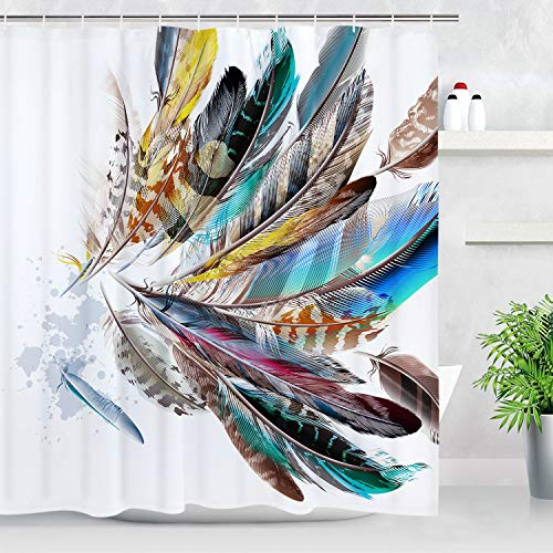 Colorful Feather Shower Curtain Bathroom Shower Curtain Durable Waterproof with 12 Hooks (Curtains Shower Exotic)