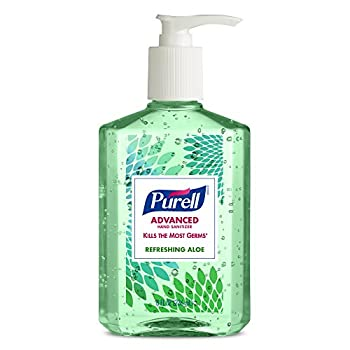 Purell Advanced Hand Sanitizer With Aloe Decorative Collection - Hand Sanitizer Gel 8 Fl Oz Table Top Pump Bottle (Pack Of 4) - 9674-06-ecdeco 1