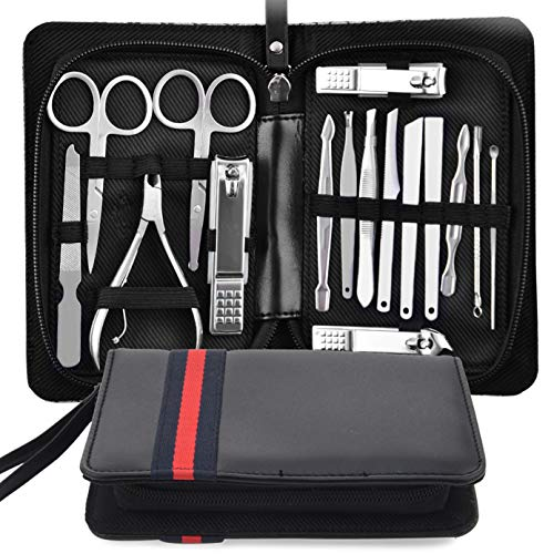 815532f846c9 ... Set Nail Clippers - 16 PCS Stainless Steel Nail Scissors- Professional  Grooming Kit - Manicure Includes Cuticle Remover Tools With Portable Travel  Case.