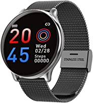 SmartWatch com Monitor Cardíaco, Monitor de Sono e Pressão Sanguínea para iOS e Android,preto/Faixa de aço ino