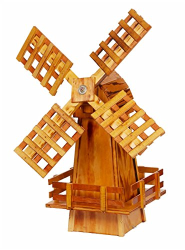 Wooden Windmill Small Amish-made with Varnished Burnt-Grain Finish (Wooden Windmill)