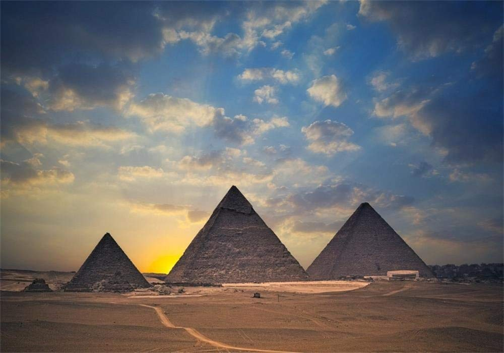 Laeacco 8x6.5ft Photography Background Egyptian Pyramids Tourist Attraction Sun Rise bluee Sky White Clouds Theme Backdrops Portraits Shooting Video Studio Props