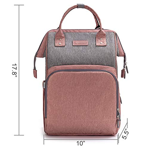 Diaper Bag Backpack Nappy Bag Upsimples Baby Bags for Mom Maternity Diaper Bag with USB Charging Port Stroller Straps Thermal Pockets,Water Resistant,Pink&Gray
