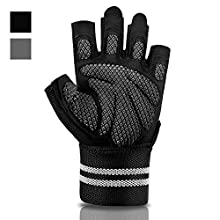 Extra Grip & Wear-Resistant Gym Gloves with Wrist Wrap Support for Workout Exercise, Weight Lifting, Fitness and CrossFit