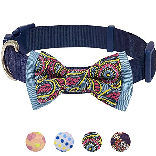 "Blueberry Pet 4 Patterns Paisley Print Handmade Detachable Bow Tie Dog Collar in Navy Blue, Small, Neck 12""-16"", Adjustable Collars for Puppies & Small Dogs"