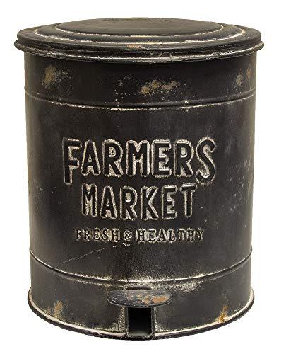 HS Vintage Metal Kitchen Step Garbage Waste Can Bin (Black Farmers Market) ()