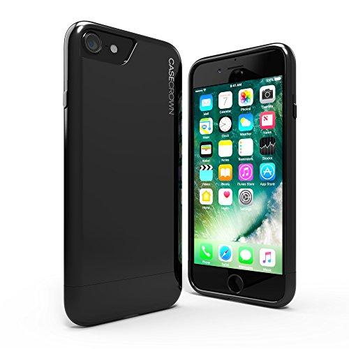 iPhone 8 Case / iPhone 7 Case, CaseCrown Lux Glider Case (Jet Black) w/ Glossy Finish & Felt Interior