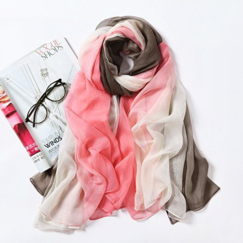 HOMEE During the Spring and Autumn Scarf Shawl Scarves Beach Towel Scarf Scarf Girl Summer Sun,Pink green by HOMEE