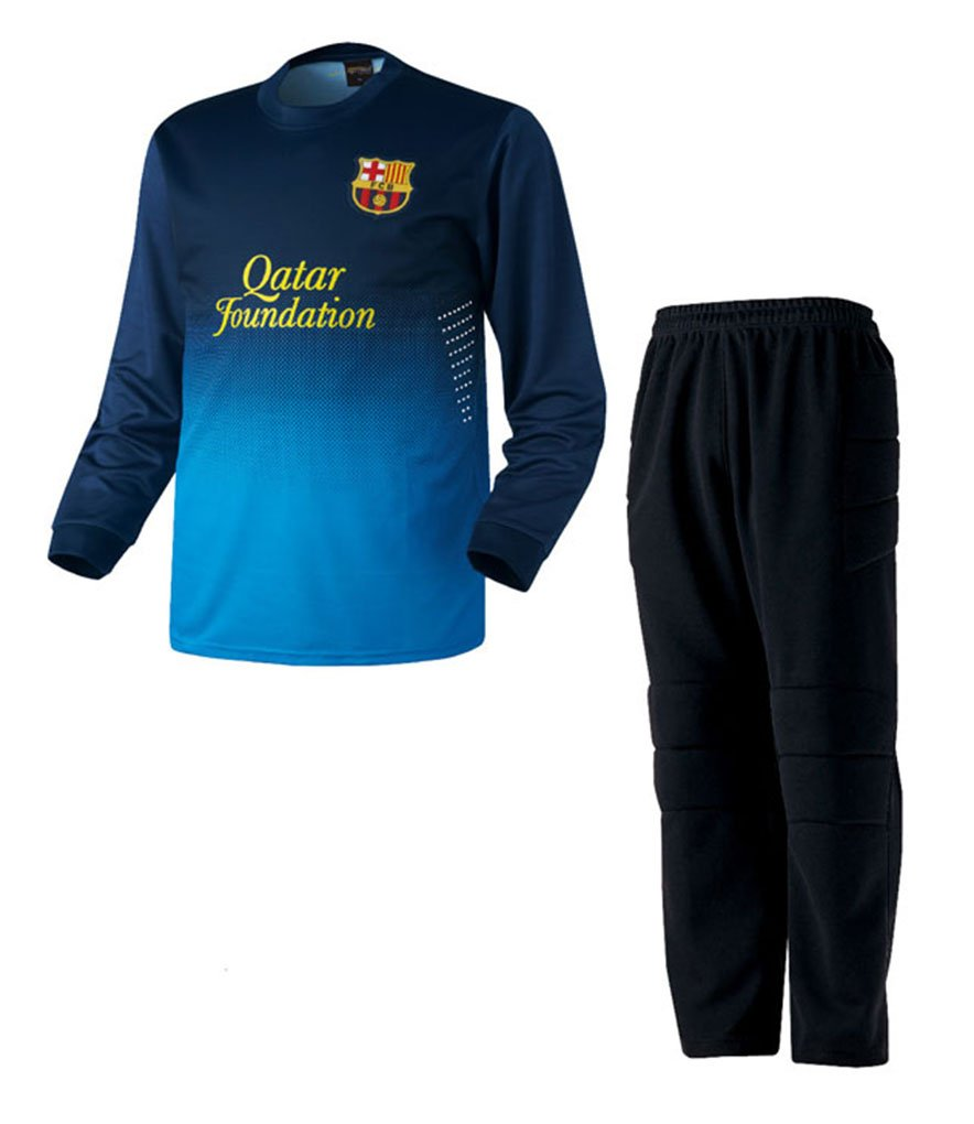 COOLEVER素材 バルセロナ ゴールキーパーユニフォーム 背番号 イニシャル プリント ネイビーHT B07DXLQ6WP Medium,上下セット