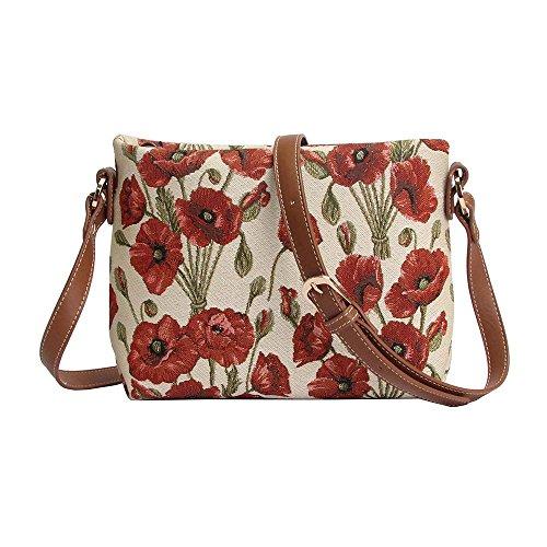 Borsetta donna Signare alla moda in tessuto stile arazzo a spalla borsa messenger a tracolla floreale Papavero