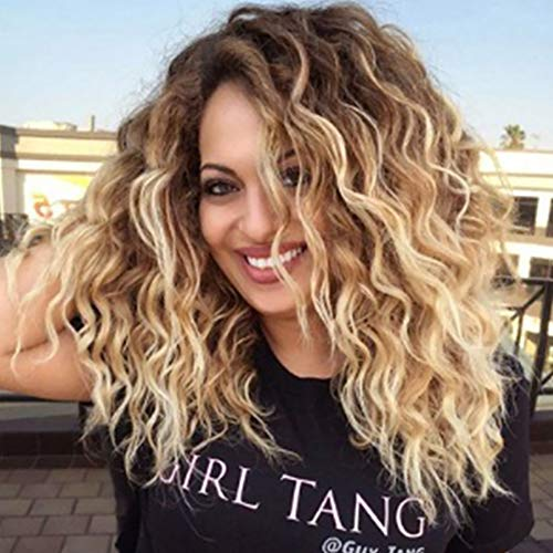 XIAOWEIBA Ombre Short Curly Hair Wig Synthetic Gradient Heat Resistant Replacement Wig Cosplay Wig Female Girl]()
