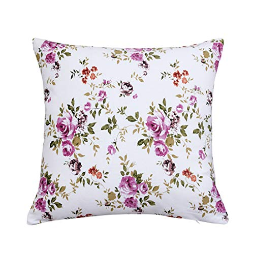 Lotus Karen Floral Flower Print Throw Pillow Cushion Cover 18x18 Inches-Canvas Cotton Pillow Cover-Decorative Square Pillowcase Pillowslip Pillow Protector Case for Sofa Couch Chair Car Seat -1 Pack