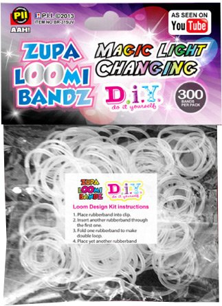 (D.I.Y. Do it Yourself Bracelet Zupa Loomi Bandz 300 Magic Light Changing Rubber Bands with 'S')