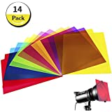 14 Pack Colored Overlays Transparency Color Film Plastic Sheets Correction Gel Light Filter Sheet, 8.5 11 Inch,7 Assorted Colors