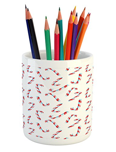 Ambesonne Candy Cane Pencil Pen Holder, Aquarelle Style Swee