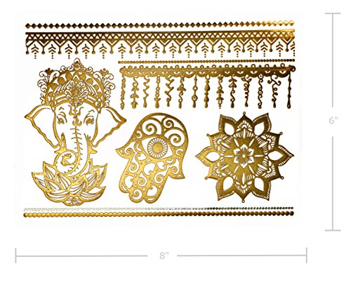 d9240acaf1aeb Temporary Henna Inspired Metallic Tattoos - Over 75 Boho Mandala ...