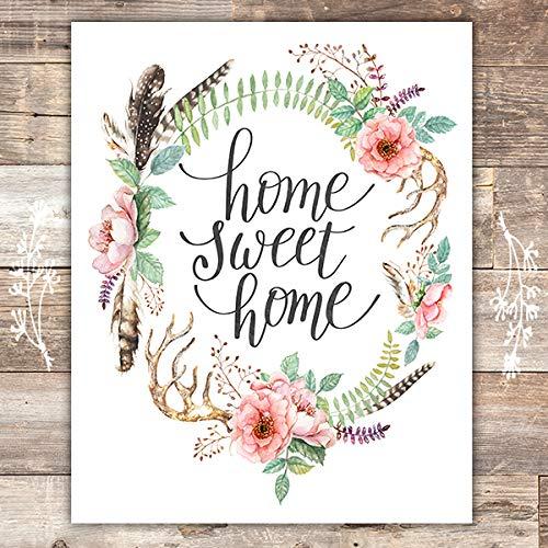 Dreams Sweet Print (Home Sweet Home Floral Wreath Art Print - Unframed - 8x10)
