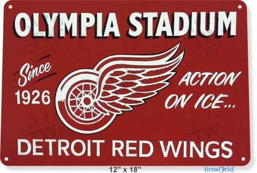 TIN Sign 8x12 inch Olympia Stadium Red Wings Metal Decor Wall Art Bar (Tin Sign Wings)