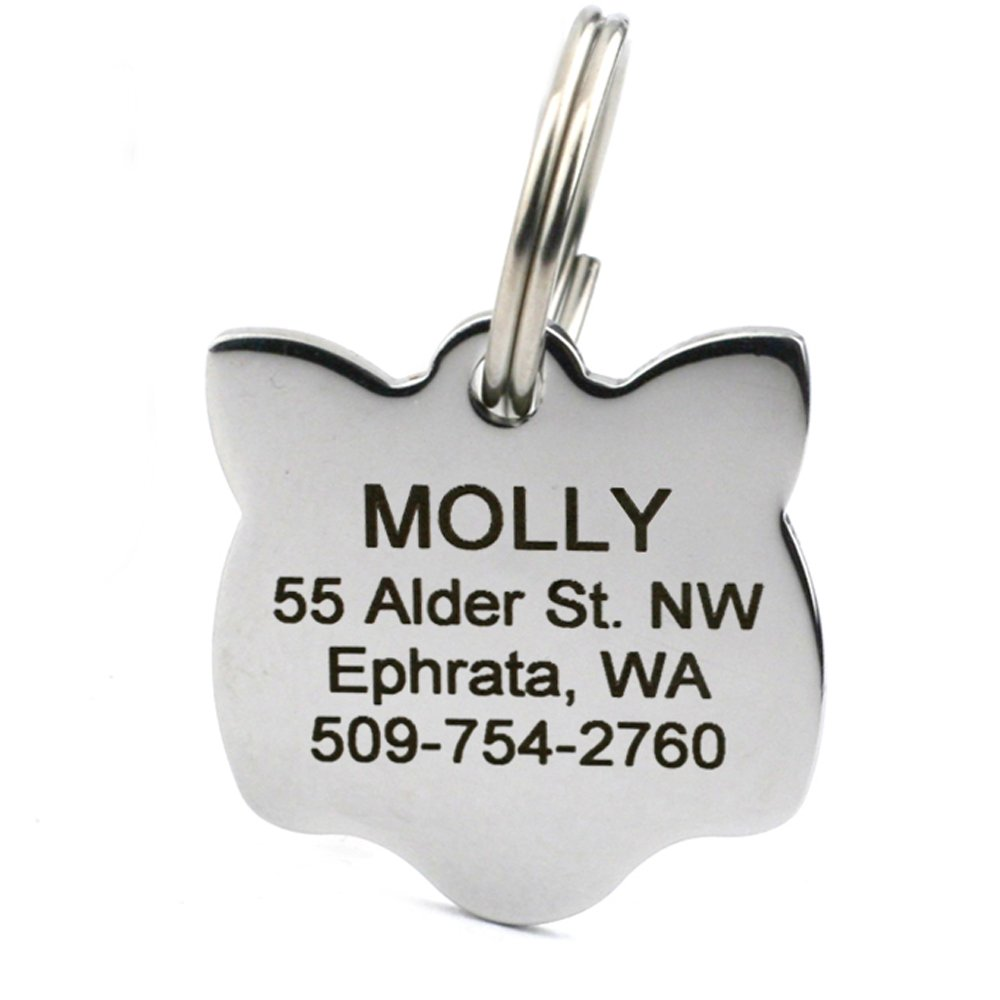 GoTags Pet ID Personalized Cat & Mouse Shape Pet ID Tags. Includes up to 4 Lines of Custom Engraved Text – Stainless Steel, Kitty Face