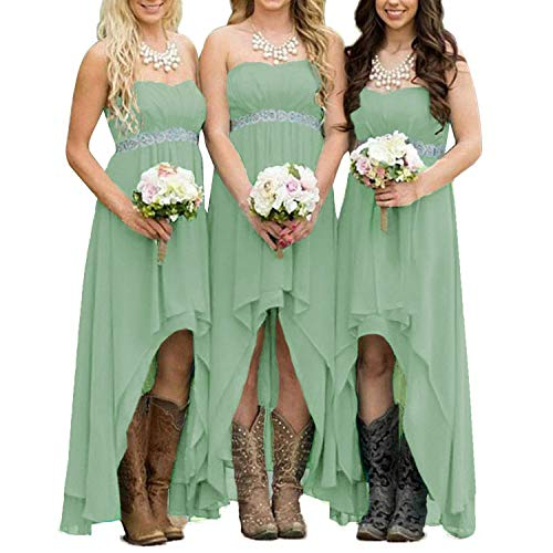 EUMI Chiffon Bridesmaid Dresses High Low Strapless Country Bridal Wedding Party Gowns, Sage - Gowns Bridal Dresses Bridesmaids And