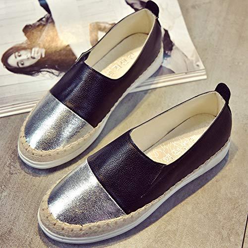 Slip Chaussures Noir Automne Cuir Espadrilles Argent Printemps Femmes Glitter Mocassins Casual Creepers On Souple OwAwY