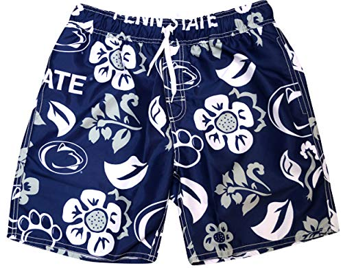 Wes and Willy NCAA Mens Floral Swim Shorts (X-Large, Penn State Nittany Lions)