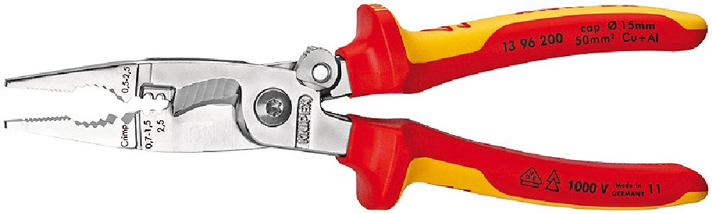 Knipex 13 96 200 SB Pliers for Electrical Installation VDE-tested with opening spring in blister packaging