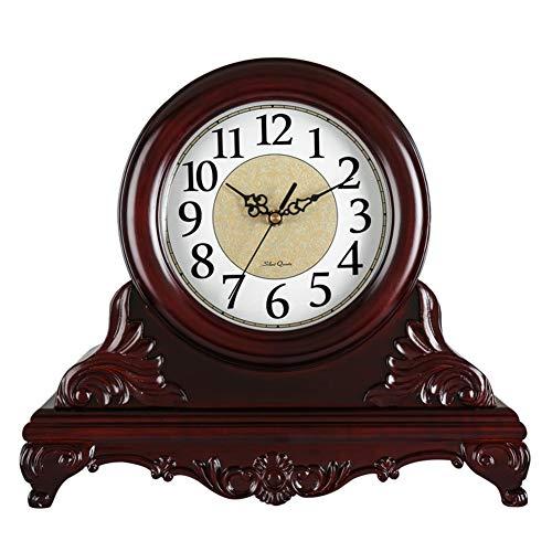 (Li-lamp Table Clock,Retro Desk Clock Wood Classic Non Ticking Living Room Style Quartz Movement Movement Round Decorative Clock Bracket Clock (Style : B))