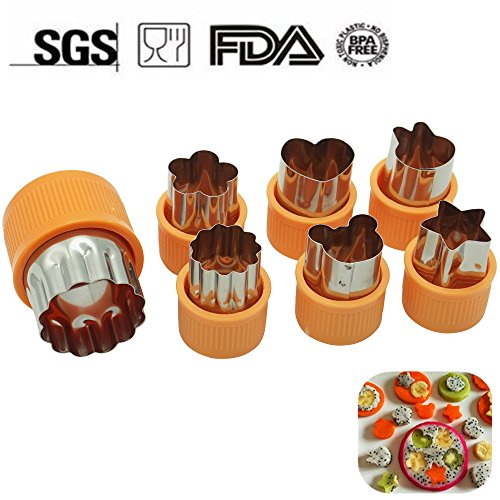Fruit Cutter Shapes Set (7 Piece) - Mini Cookie Cutters with Protecting Caps, Vegetable Shape Cutters for Kids including Flower,Bunny Rabbit,Heart,Star,Mickey Shapes by KuXun (Orange) (Halloween Edible Fruit Arrangements)