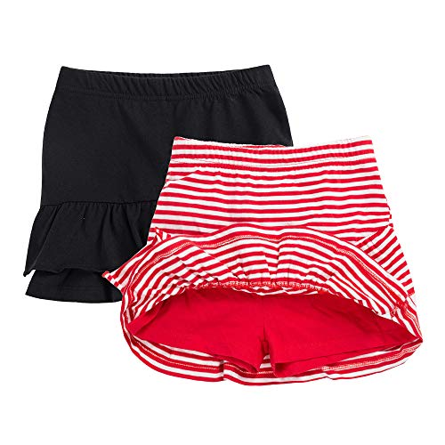 UNACOO 2 Packs 100% Cotton Tiered Ruffle Skirt with Elastic Waistband for Girls(red/White+Black, m(7-8T))