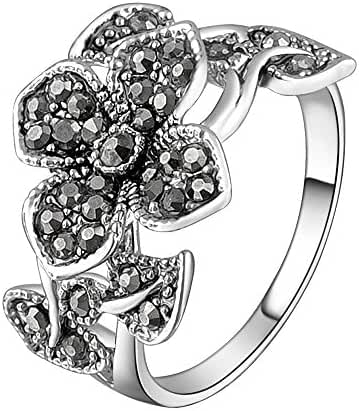 Mytys 18k White Gold Plated Grey Flower and Leaf Marcasite Crystal Rings