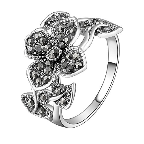 Marcasite Leaf Ring (Mytys 18k White Gold Plated Grey Flower and Leaf Marcasite Crystal Ring(8))
