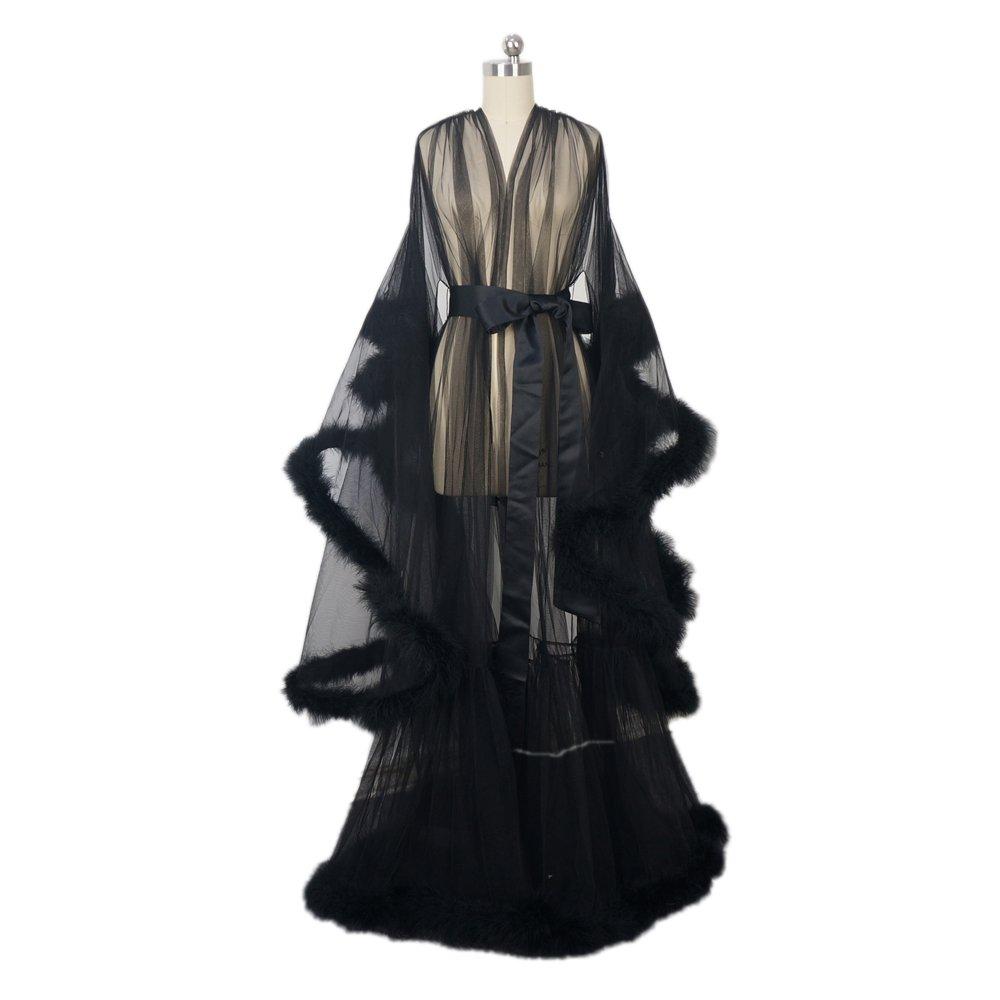 Feather Bridal Robe Tulle Illusion Long Wedding Scarf New Custom Made … (black)
