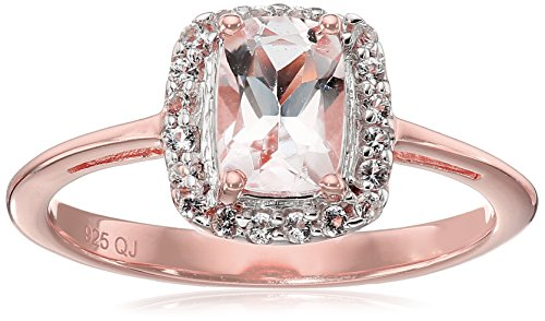 14k Rose Gold Plated Genuine Morganite and White Topaz .925 Sterling Silver Ring, Size 7