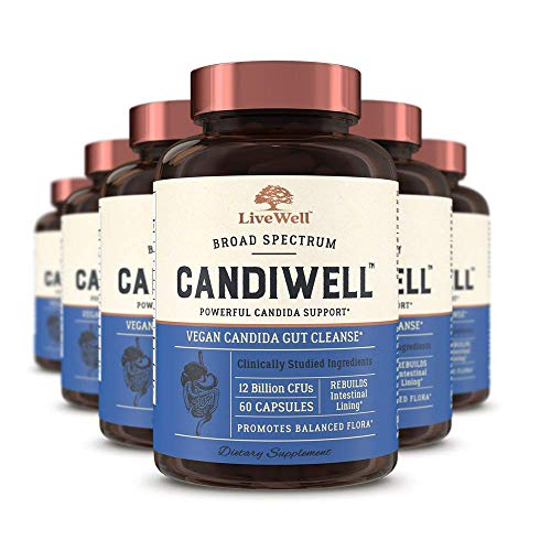 CandiWell - Powerful Candida Support with Clinically Studied Herbs and Botanicals, Digestive Enzymes, and Probiotics | Vegan Candida Gut Cleanse - 180 Day Supply (360 Capsules)