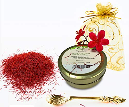 Coupe Spanish Saffron Threads (4 grams) Category 1 Spice Pure Azafran  Filaments (Unmatched Aroma and Color for your Paella and Great Gift for  Anyone